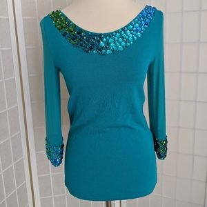 Vintage 80s Jeweled Embellished Sweater Top